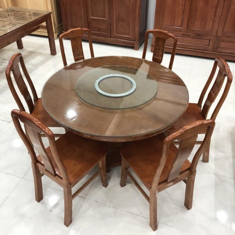 Bàn ăn tròn xoay đường kính 1m2 gỗ Xoan đào